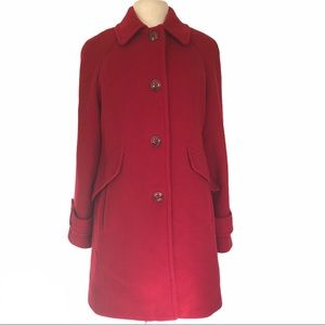 London Fog Red Wool Blend Long Classic Pea Coat